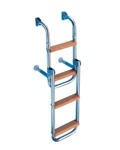 Scaletta inox + legno pieghevole